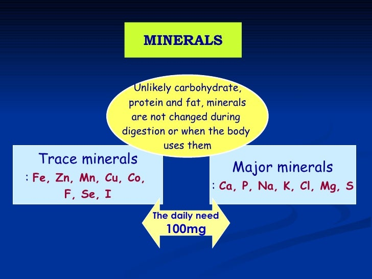 MINERALS Trace minerals :  Fe, Zn, Mn, Cu, Co,  F, Se, I Major minerals :  Ca, P, Na, K, Cl, Mg, S Unlikely carbohydrate, ...