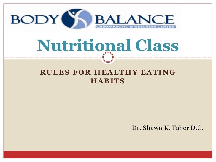 Nutritional ClassRULES FOR HEALTHY EATING         HABITS                Dr. Shawn K. Taher D.C.