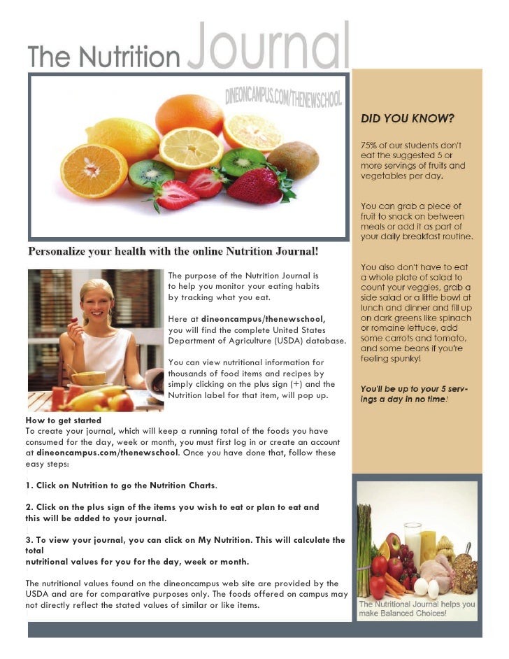 The purpose of the Nutrition Journal is                                    to help you monitor your eating habits         ...