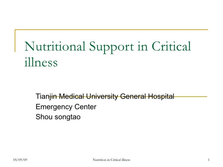 Nutritional Support in Critical illness Tianjin Medical University General Hospital  Emergency Center Shou songtao