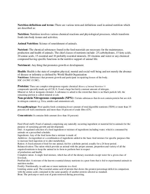 Nutrition definitions and terms