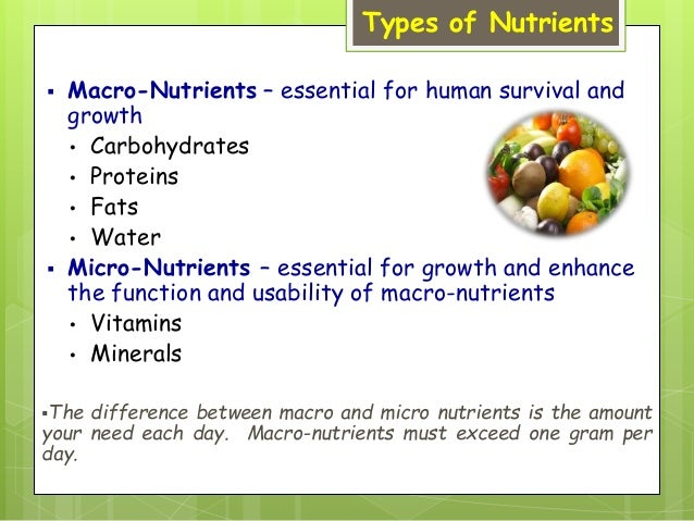 macro and micro nutrients Our bodies do an amazing job of taking what we put into it and making the most of it unfortunately not everyone does their very best in terms of choosing what to eat our food is our fuel, so by understanding the ins and outs of what drives us, we can do a better job of giving our bodies what they need to function.