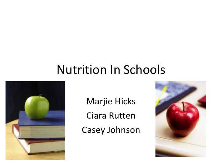 Nutrition In Schools     Marjie Hicks     Ciara Rutten    Casey Johnson