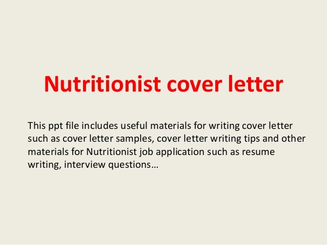 Dietitian/nutritionist sample cover letter