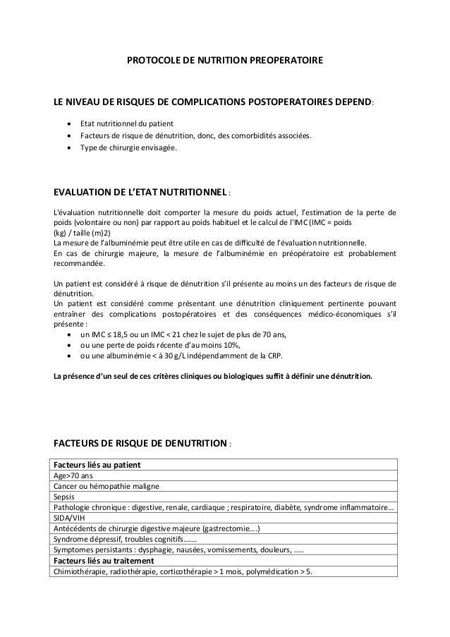 PROTOCOLE DE NUTRITION PREOPERATOIRE LE NIVEAU DE RISQUES DE COMPLICATIONS POSTOPERATOIRES DEPEND:  Etat nutritionnel du ...