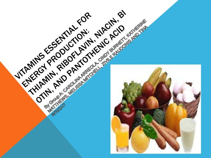 Vitamins essential for Energy production:Thiamin, Riboflavin, Niacin, Biotin, and pantothenic acid  <br />By Group A: CARO...