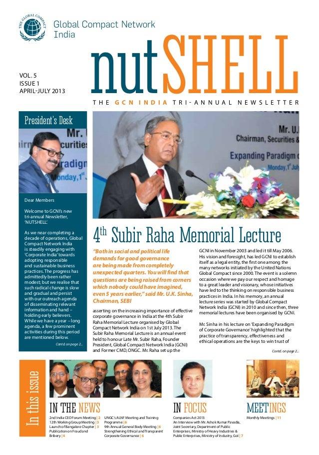 NutShell - GCNI Tri-annual Newsletter April-July 2013