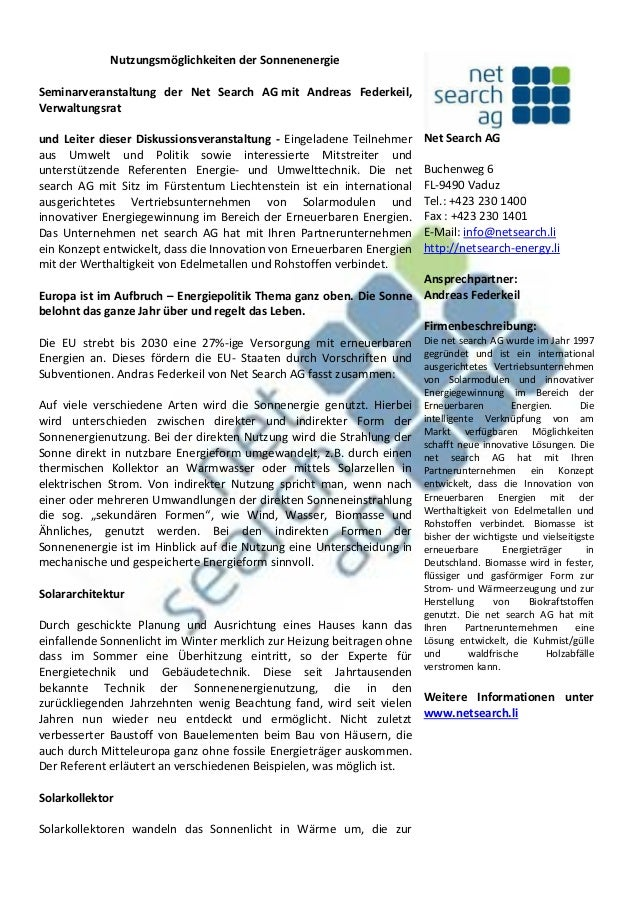 Nutzungsmöglichkeiten der Sonnenenergie Seminarveranstaltung der Net Search AG mit Andreas Federkeil, Verwaltungsrat und L...