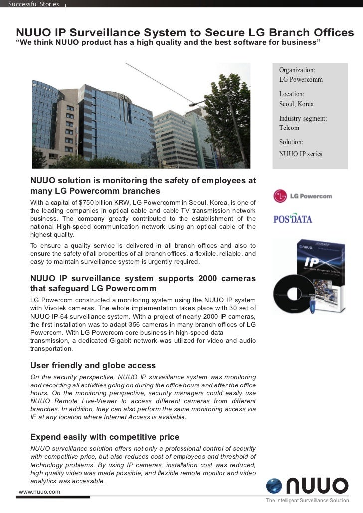 """Successful Stories  NUUO IP Surveillance System to Secure LG Branch Offices  """"We think NUUO product has a high quality and..."""