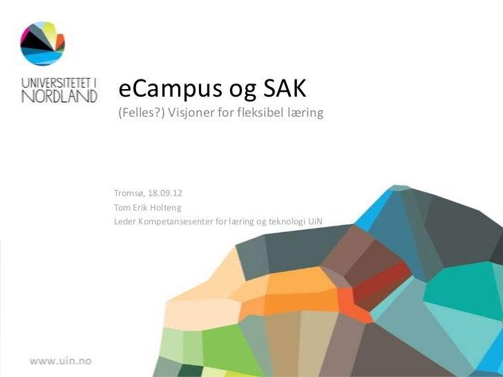 eCampus og SAK(Felles?) Visjoner for fleksibel læringTromsø, 18.09.12Tom Erik HoltengLeder Kompetansesenter for læring og ...