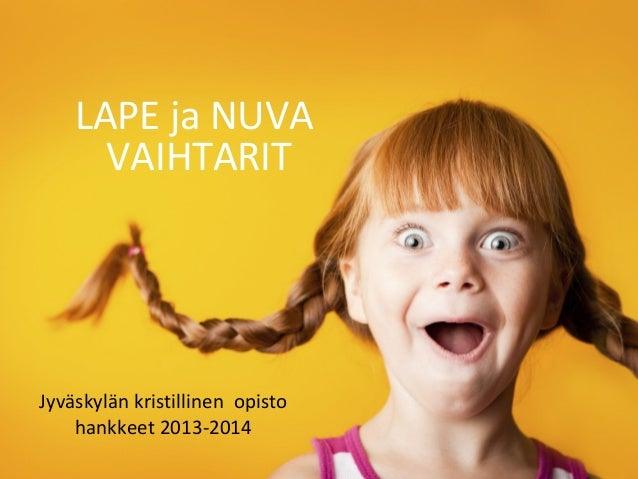 LAPE ja NUVA VAIHTARIT Jyväskylän kristillinen opisto hankkeet 2013-2014