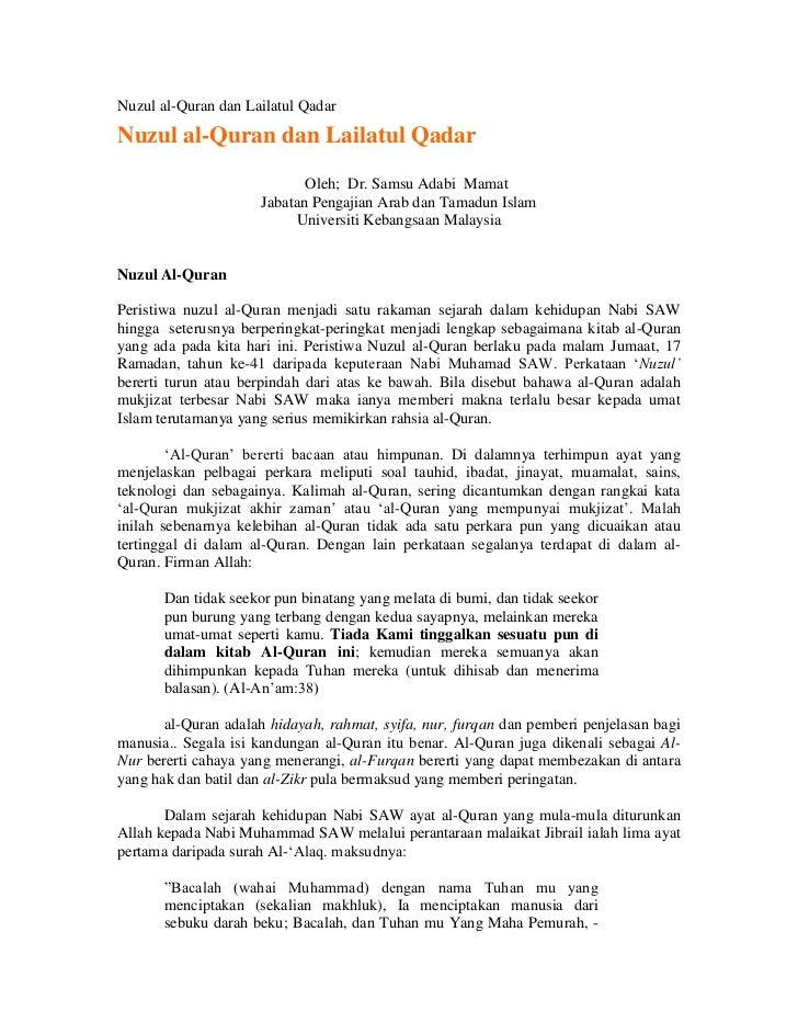 Nuzul al-Quran dan Lailatul Qadar <br />Nuzul al-Quran dan Lailatul QadarOleh; ...