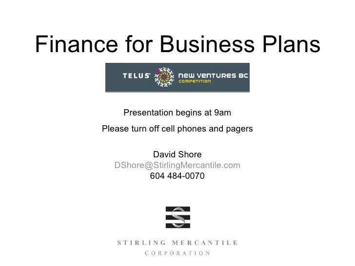 NVBC Finance for Business Plans
