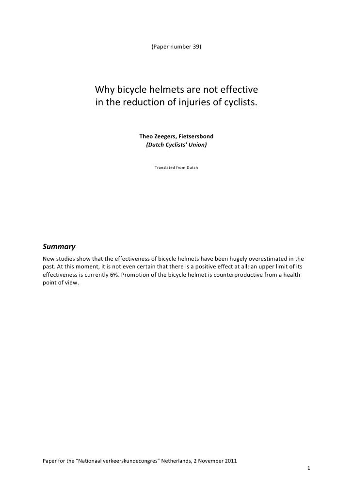 (Paper number 39)                          Why bicycle helmets are not effective                      in the reduction of ...