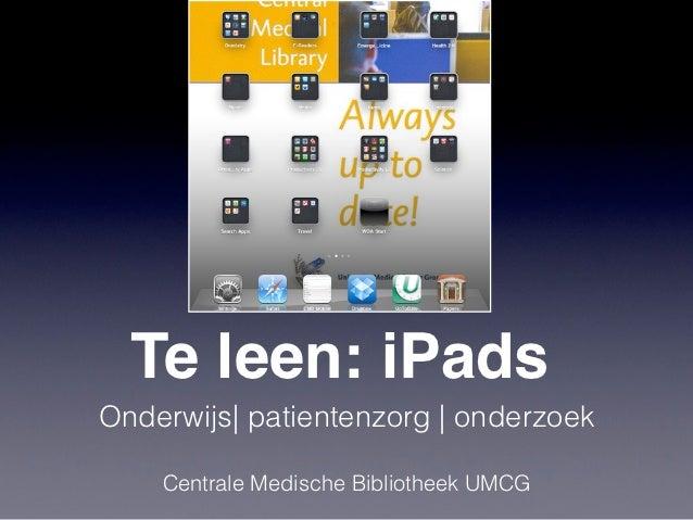 Te leen : iPads | NVMO Rondetafel over Tablets