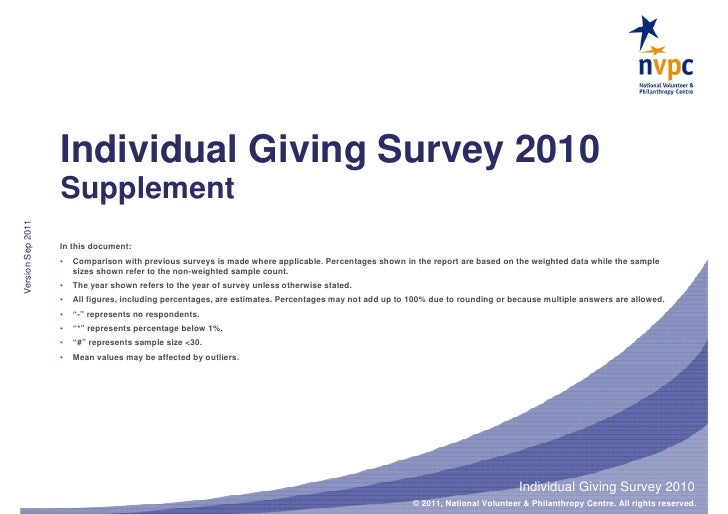 Individual Giving Survey 2010                   SupplementVersion Sep 2011                   In this document:            ...