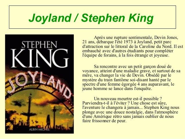 Joyland / Stephen King Après une rupture sentimentale, Devin Jones, 21 ans, débarque l'été 1973 à Joyland, petit parc d'at...