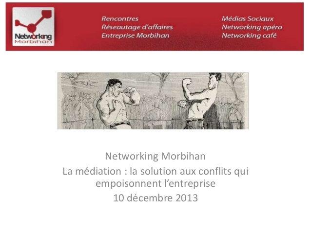Networking Morbihan  La médiation : la solution aux conflits qui  empoisonnent l'entreprise  10 décembre 2013