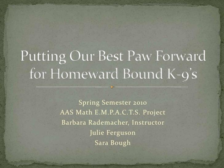 Spring Semester 2010<br />AAS Math E.M.P.A.C.T.S. Project<br />Barbara Rademacher, Instructor <br />Julie Ferguson<br />Sa...