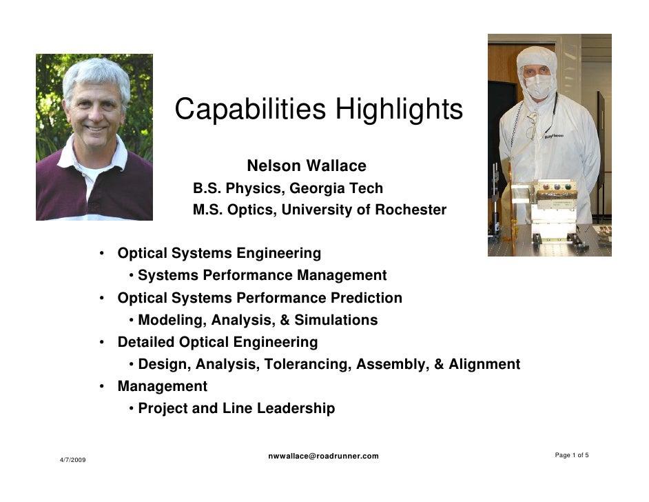 Capabilities Highlights                               Nelson Wallace                        B.S. Physics, Georgia Tech    ...