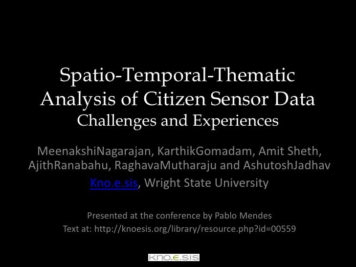 Spatio-Temporal-Thematic Analysis of Citizen Sensor DataChallenges and Experiences<br />MeenakshiNagarajan, KarthikGomadam...