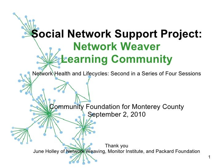 Social Network Support Project:  Network Weaver Learning Community   Network Health and Lifecycles: Second in a Series of ...