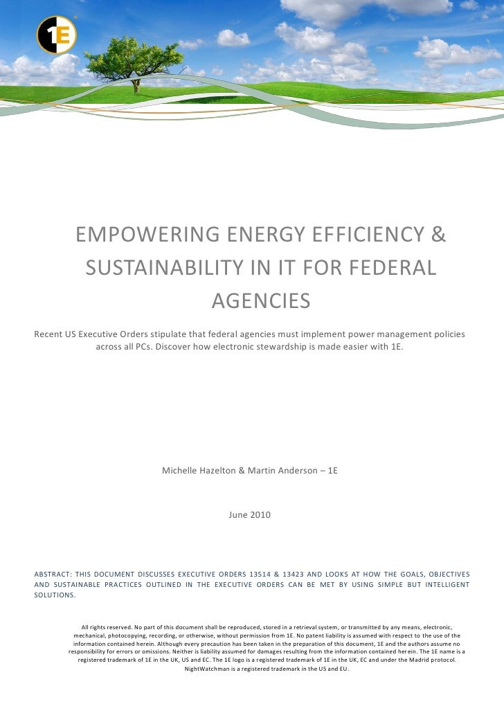 EMPOWERING ENERGY EFFICIENCY &           SUSTAINABILITY IN IT FOR FEDERAL                      AGENCIESRecent US Executive...