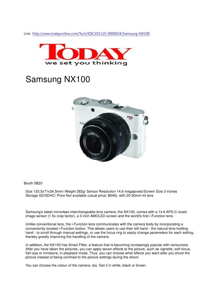 Samsung's latest mirrorless interchangeable lens camera, the NX100
