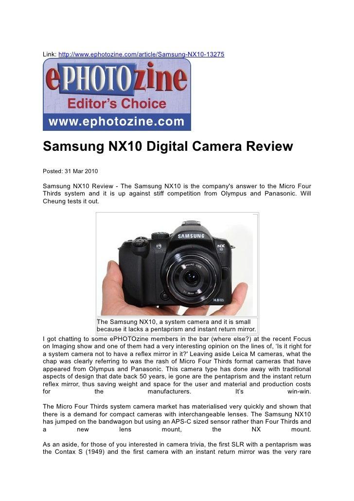 Samsung NX10 Digital Camera Review