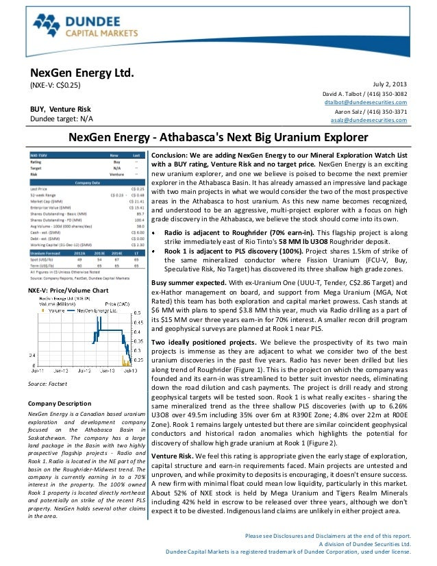 Dundee Capital Markets Initiating Coverage: NexGen Energy Ltd. (July 2013)