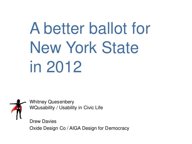 A Better Ballot for New York State in 2012