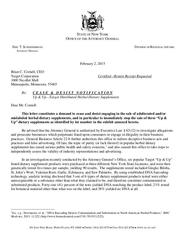 NEW YORK ATTORNEY GENERAL CEASE AND DESIST LETTER HERBAL