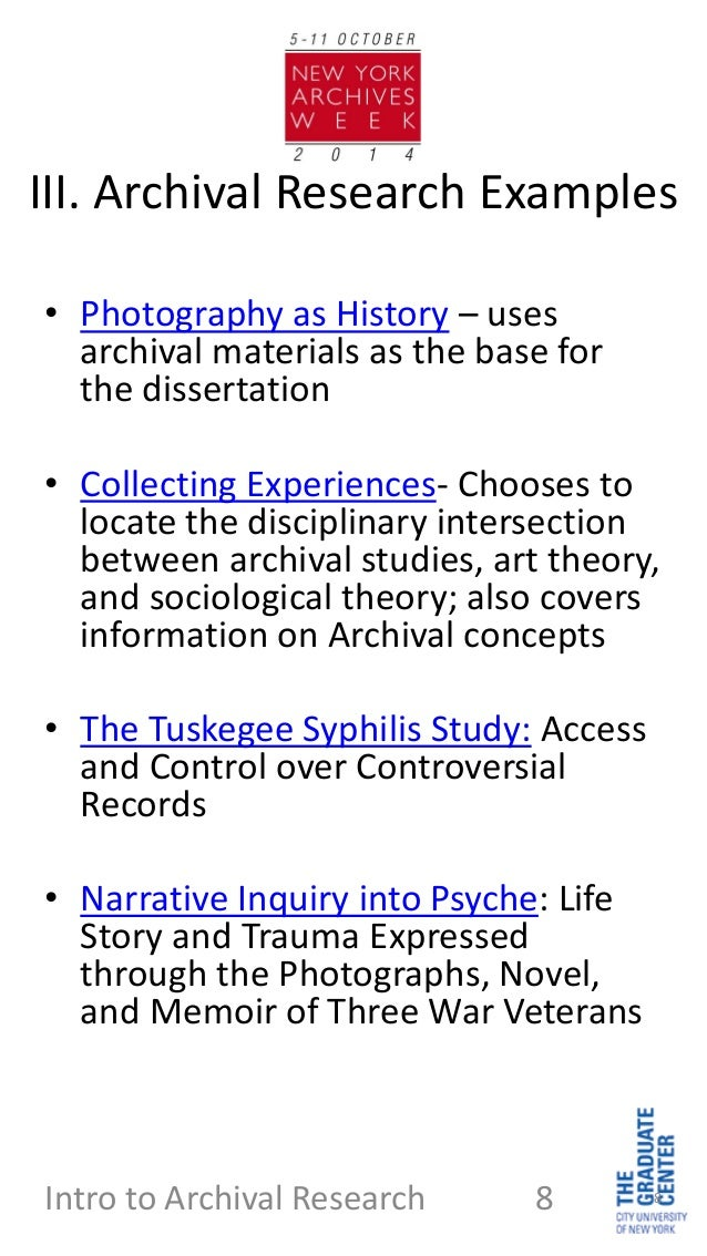 What type of research does looking at archive material fall under?