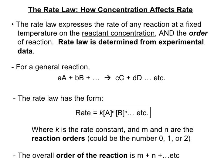 The Rate Law: How Concentration Affects Rate •  The rate law expresses the rate of any reaction at a fixed temperature on ...