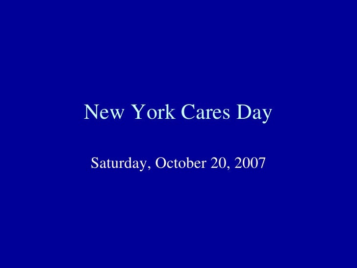 New York Cares Day Saturday, October 20, 2007