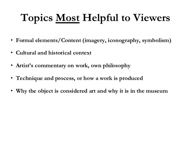 I have to write a paper on an art exhibit..?