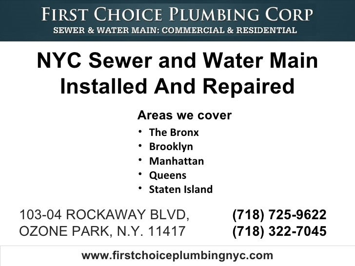 NYC Sewer and Water Main    Installed And Repaired                Areas we cover                •   The Bronx             ...