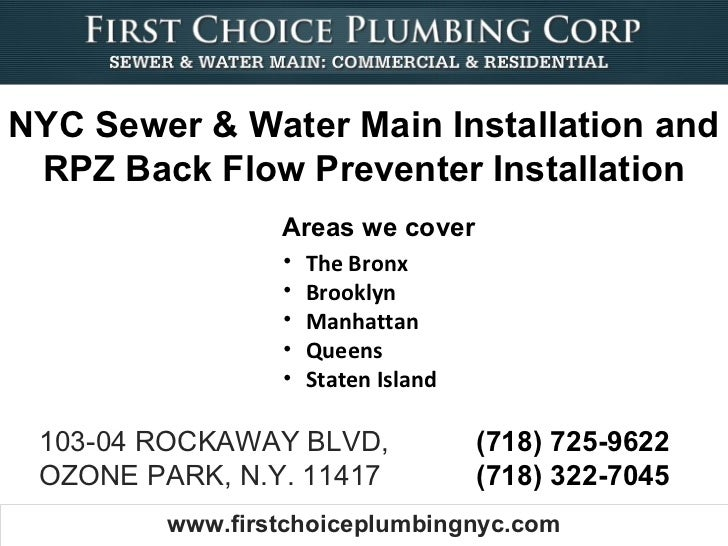 NYC Sewer & Water Main Installation and RPZ Back Flow Preventer Installation                 Areas we cover               ...