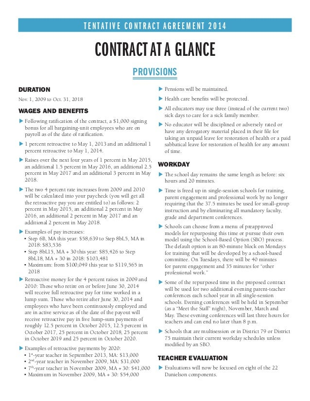 NYC TEACHERS CONTRACT 2014 AT A GLANCE