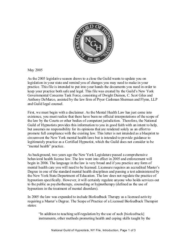 National Guild of Hypnotists, NY File, Introduction, Page 1 of 3 May 2005 As the 2005 legislative season draws to a close ...