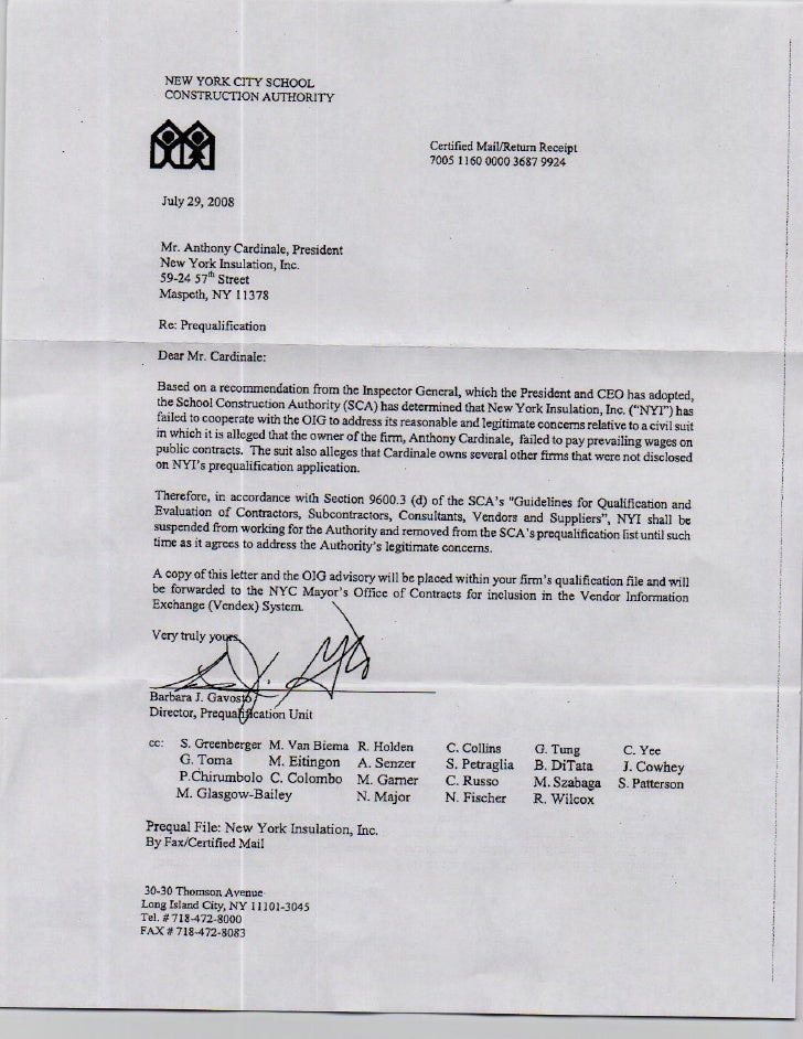 New York Insulation Letter of Disqualification SCA
