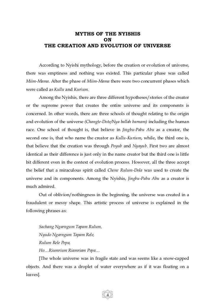 Nyishi myths on the creation of universe