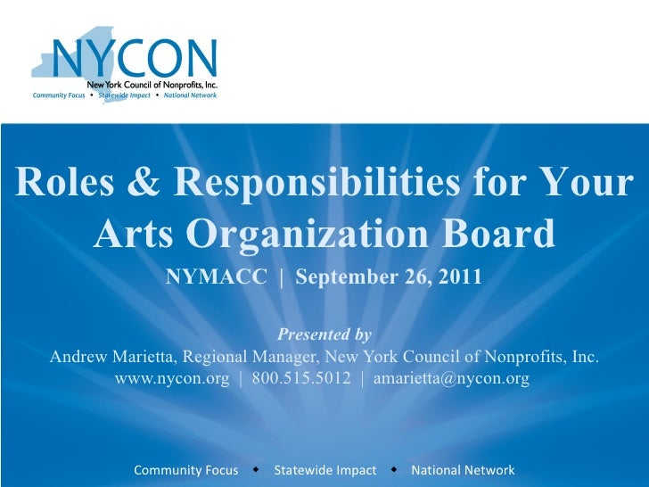 Presented by Andrew Marietta, Regional Manager, New York Council of Nonprofits, Inc. www.nycon.org  |  800.515.5012  |  am...