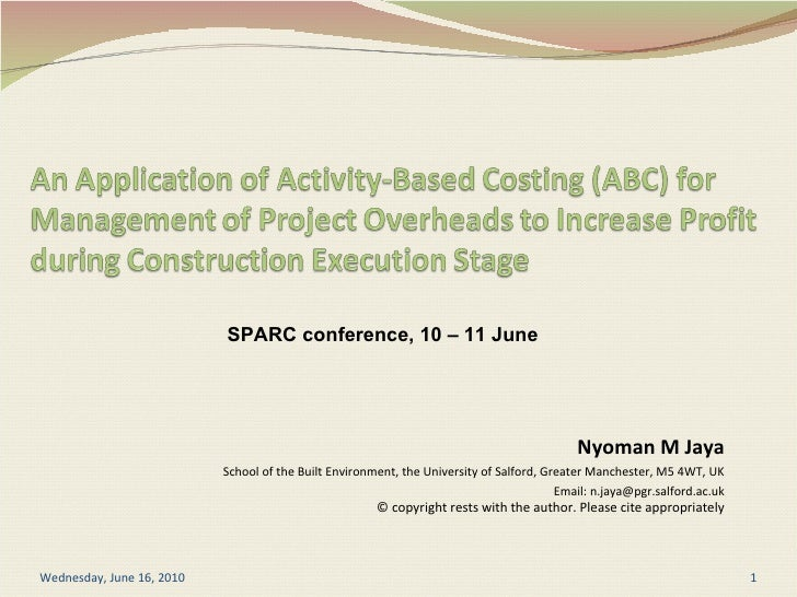An application of activity-based costing for management of project overhead to increase profit during construction execution stage