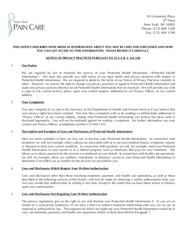 New york pain care notice of privacy practices hippa