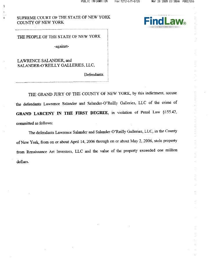 FindLaw - Lawrence Salander's Criminal Charges