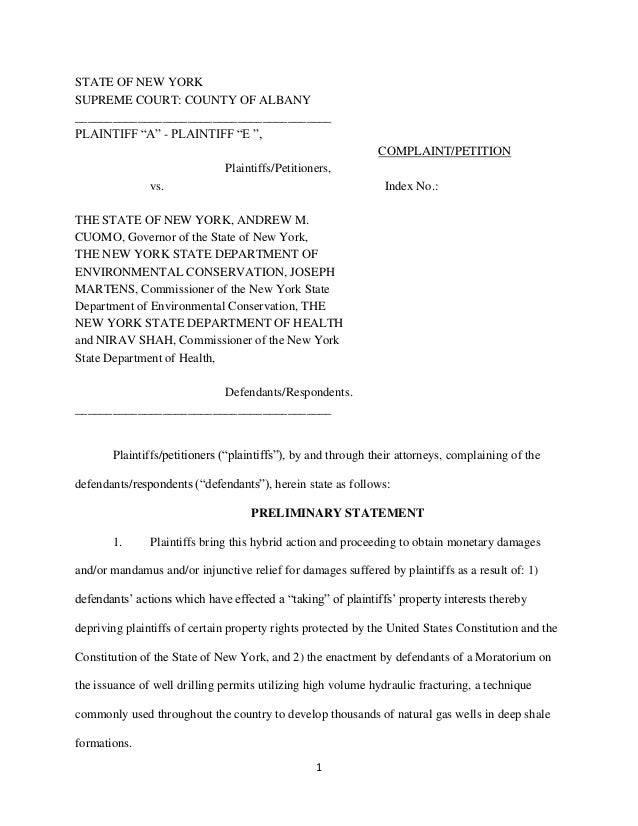 """JLCNY Lawsuit Complaint Against NY State for Illegal """"Takings"""" in Ongoing Frack Moratorium"""