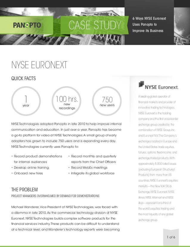Case Study: 6 Ways the New York Stock Exchange Euronext Uses Panopto to Improve Its Business