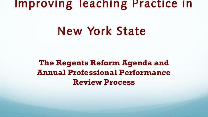 The Regents Reform Agenda & Improvement of Teaching Practices