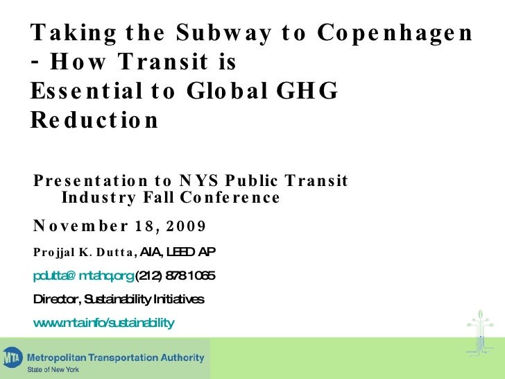 Taking the Subway to Copenhagen - How Transit is Essential to Global GHG Reduction